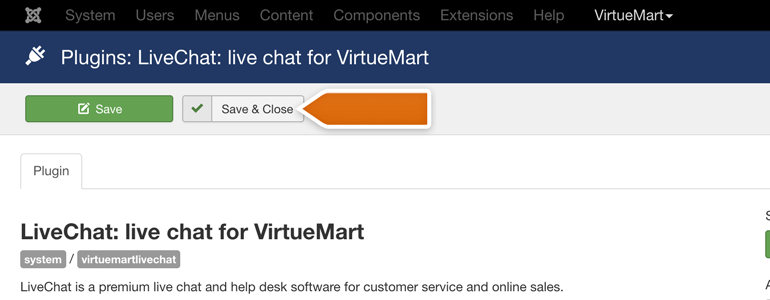 VirtueMart LiveChat: click on the Save & Close