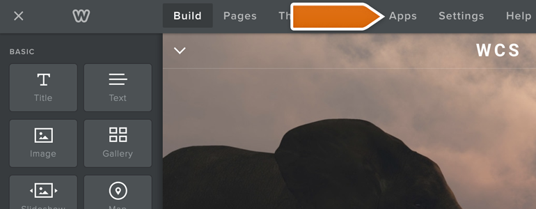 Go to Apps, available at the top of your website editor