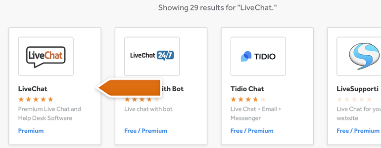 Choose LiveChat from the list of available plugins