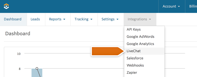 Log into your WhatConverts and go to Integrations and then LiveChat