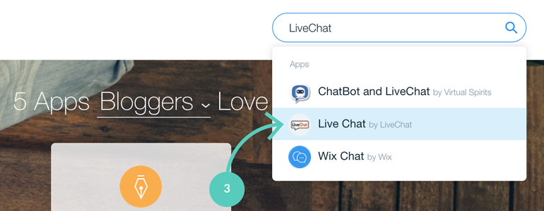 Wix integration: LiveChat in App Market