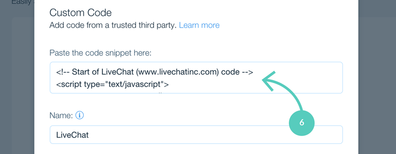Wix integration: paste your LiveChat code