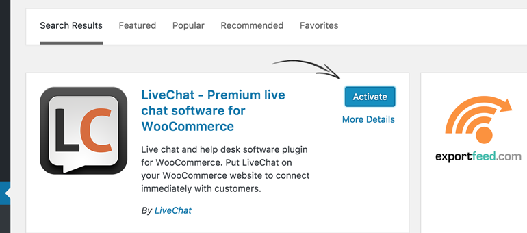 Activate LiveChat for WooCommerce to proceed