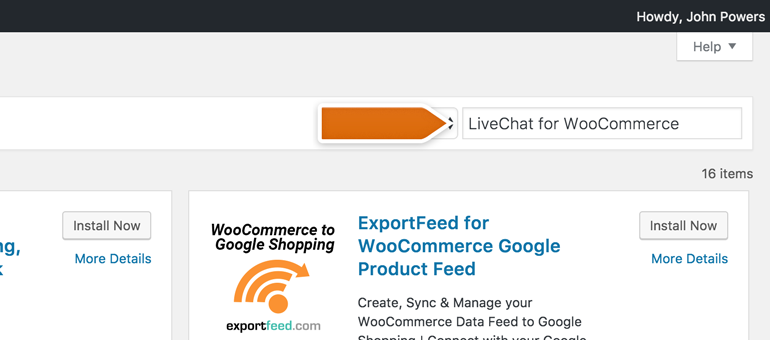 Search for LiveChat for WooCommerce