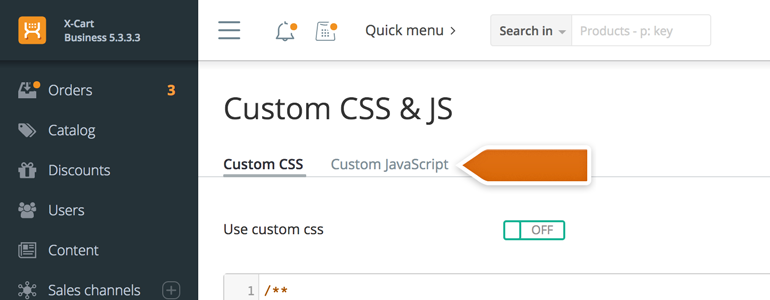To proceed, go to the Custom JavaScript tab