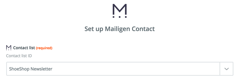 Choose a contact list in Mailigen