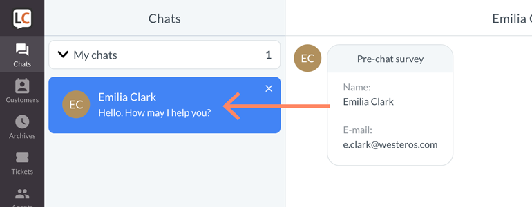 Zendesk LiveChat: choose a conversation from the list of ongoing conversations
