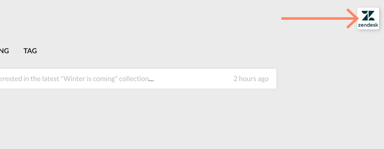 Zendesk LiveChat: Click on a Zendesk icon to continue the configuration