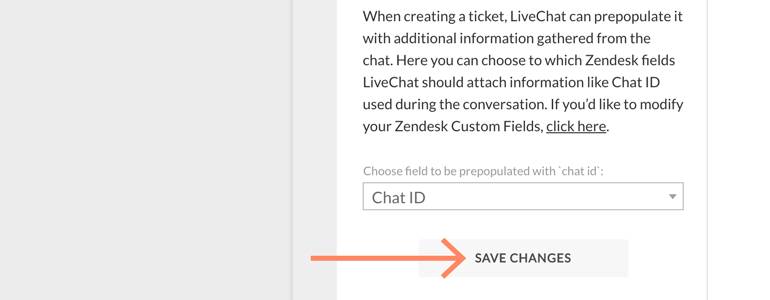 Zendesk LiveChat: save changes to the configuration