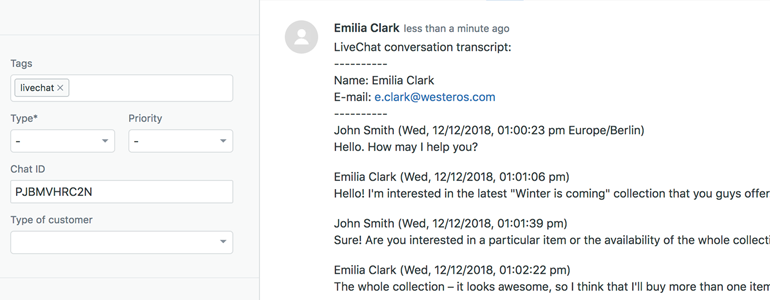 Zendesk LiveChat: Simple ticket overview