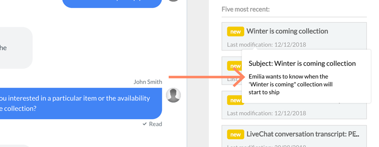 Zendesk LiveChat: hover your mouse over ticket to preview it's content