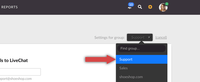 LiveChat forwarding email for group