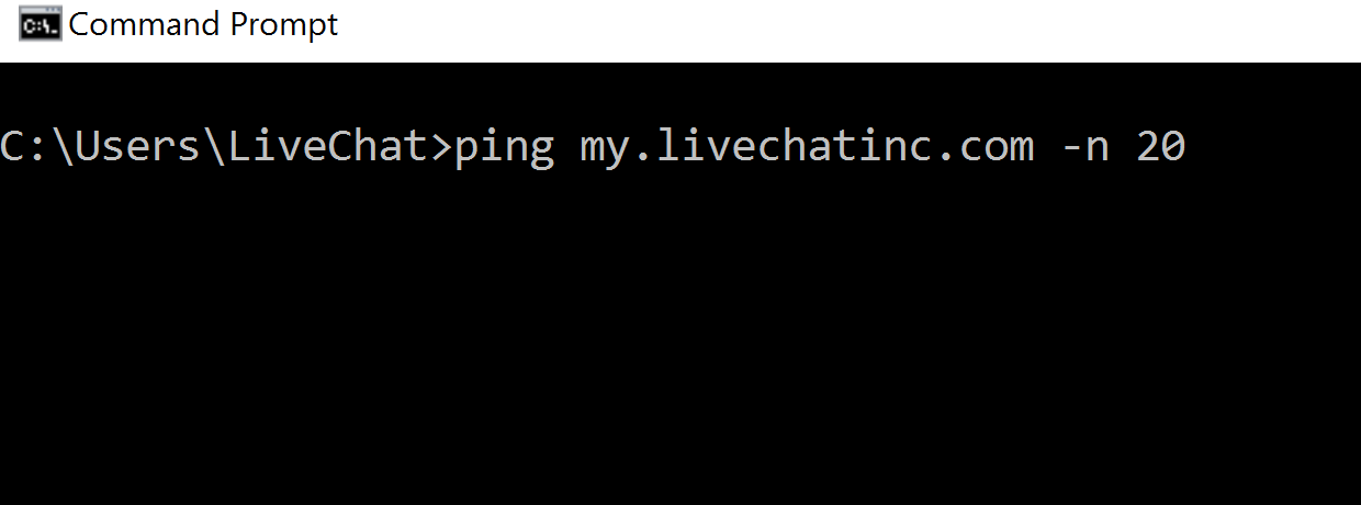 Windows Command Prompt - ping request
