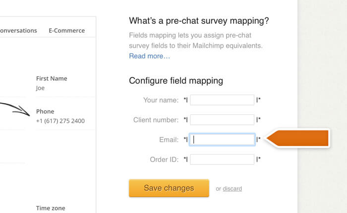 Selecting the email field for mapping in Mailchimp and LiveChat integration