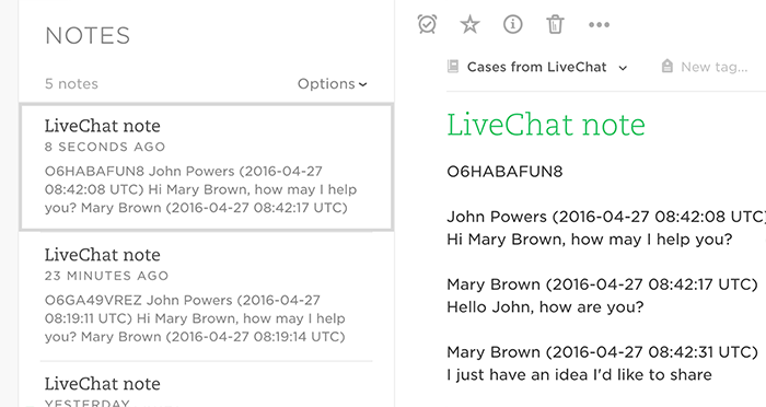 Integration with Evernote: A chat passed as a note