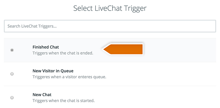 Capsule integration: Selecting LiveChat trigger
