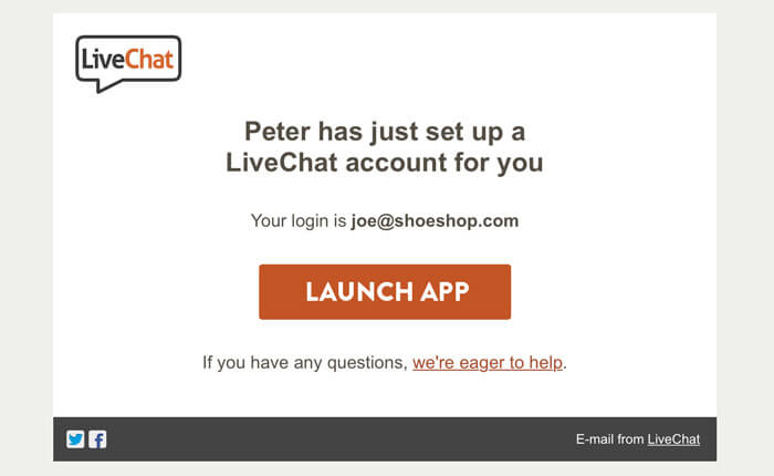 Setting up a LiveChat account from email
