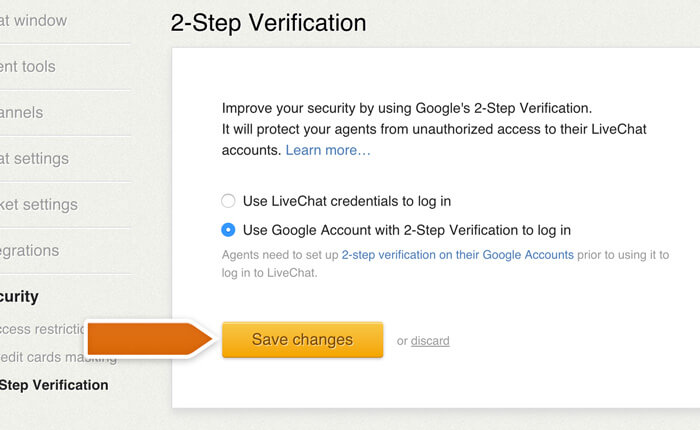 Saving Google 2-factor verification options in LiveChat