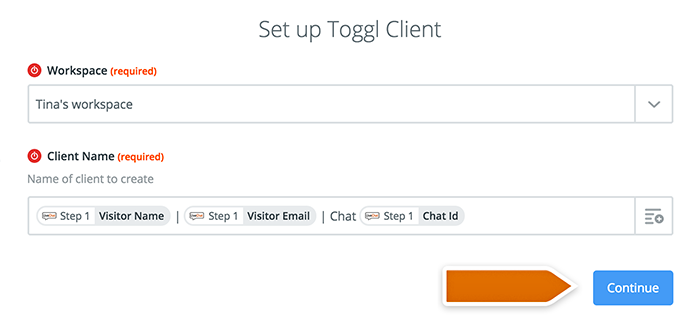 Integration with Toggl: Setting up a template