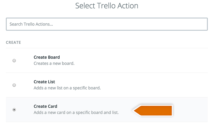 Choosing Trello action