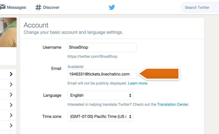 Entering your LiveChat ticketing email in Twitter settings