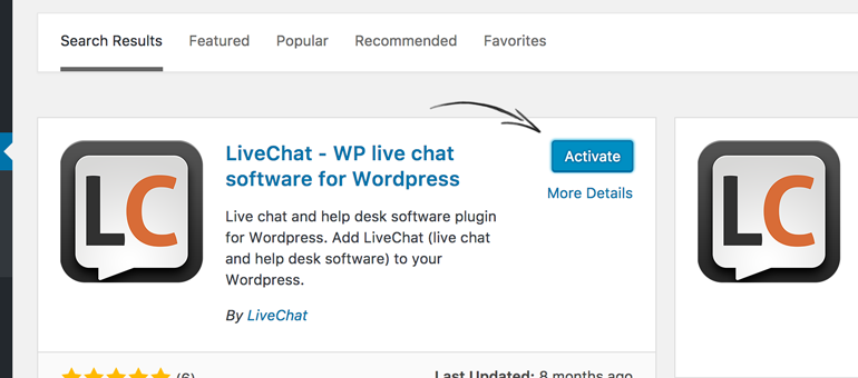 Activate LiveChat for WordPress to proceed