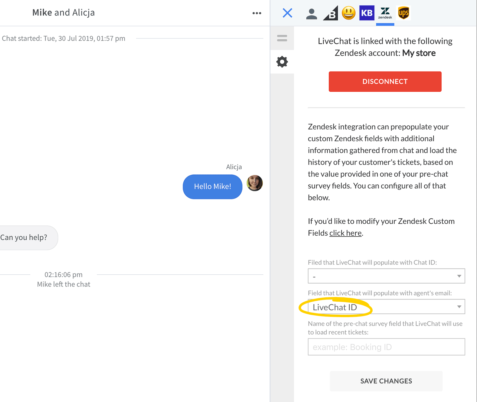 Choose custom field to be populated with LiveChat agent email