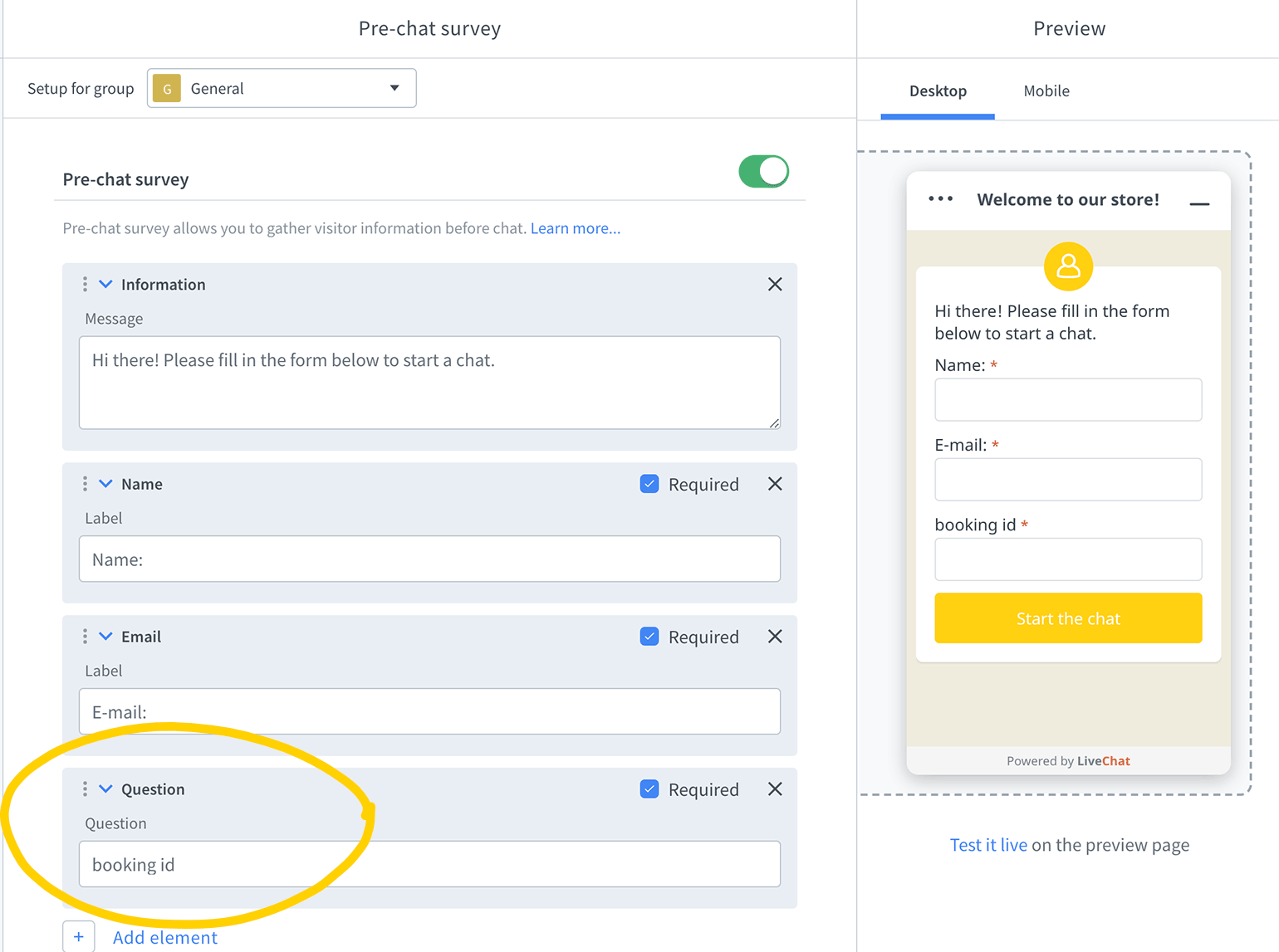 Add a new question field in a pre-chat survey in LiveChat