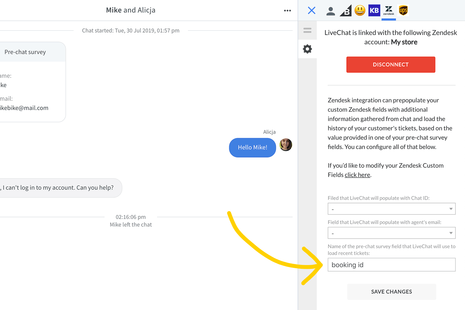 Type in pre-chat survey field name in LiveChat Zendesk app