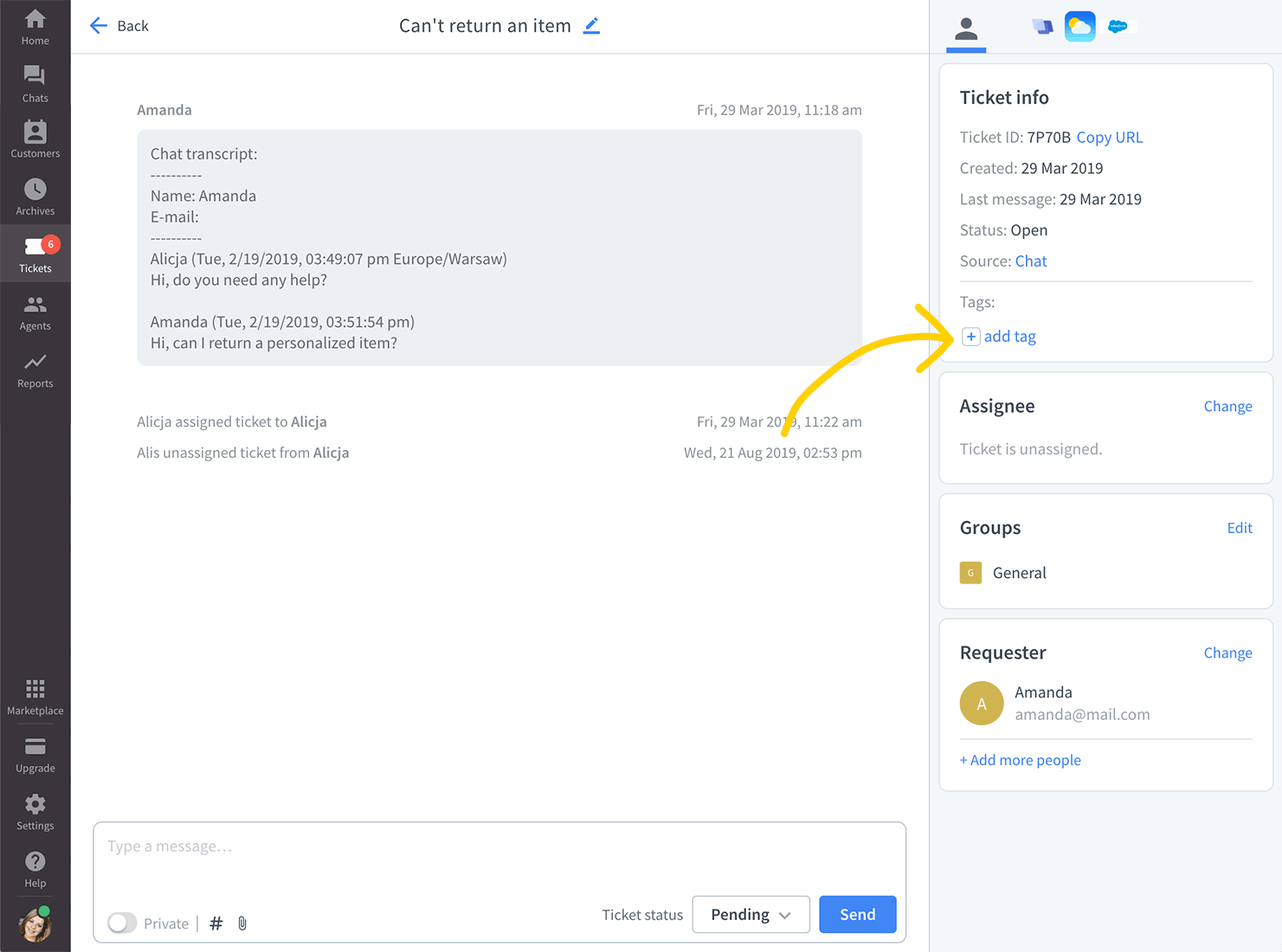 Add a tag in Tickets in LiveChat