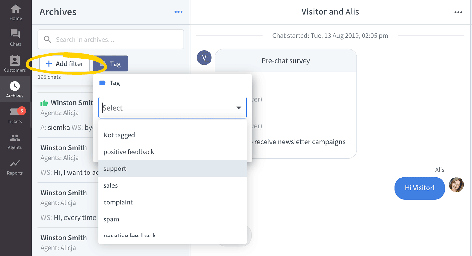 Use tag filter in LiveChat Archives