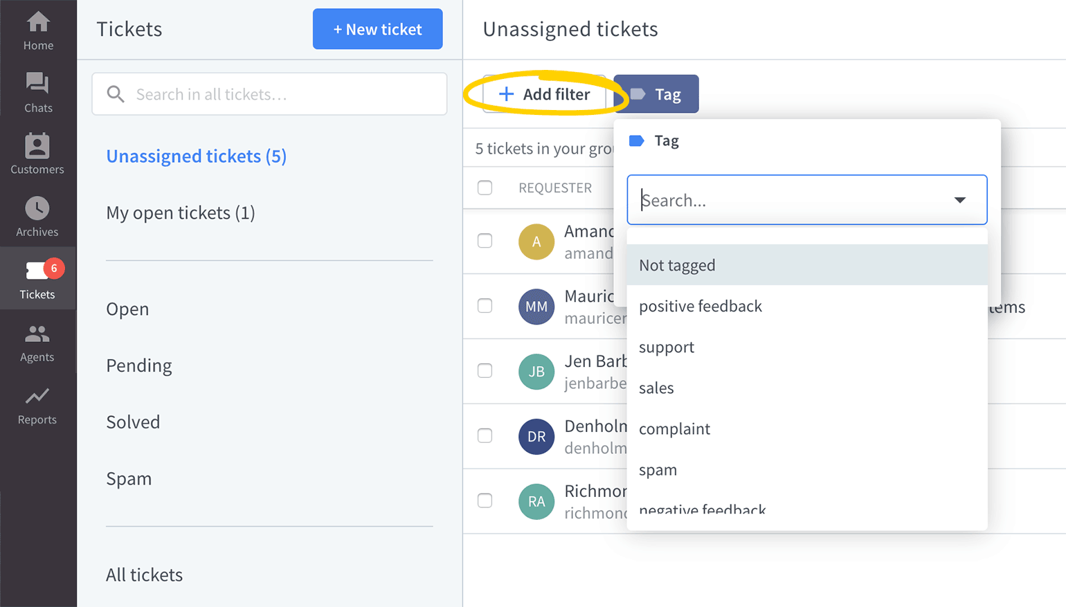 Use tag filter in LiveChat Tickets