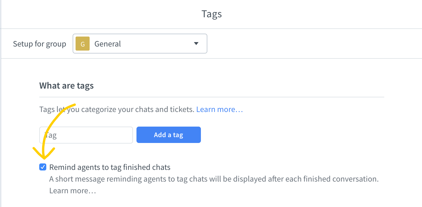 Set tag reminders in LiveChat