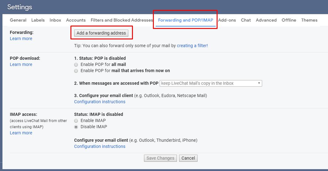 GIF: Gmail forwarding settings