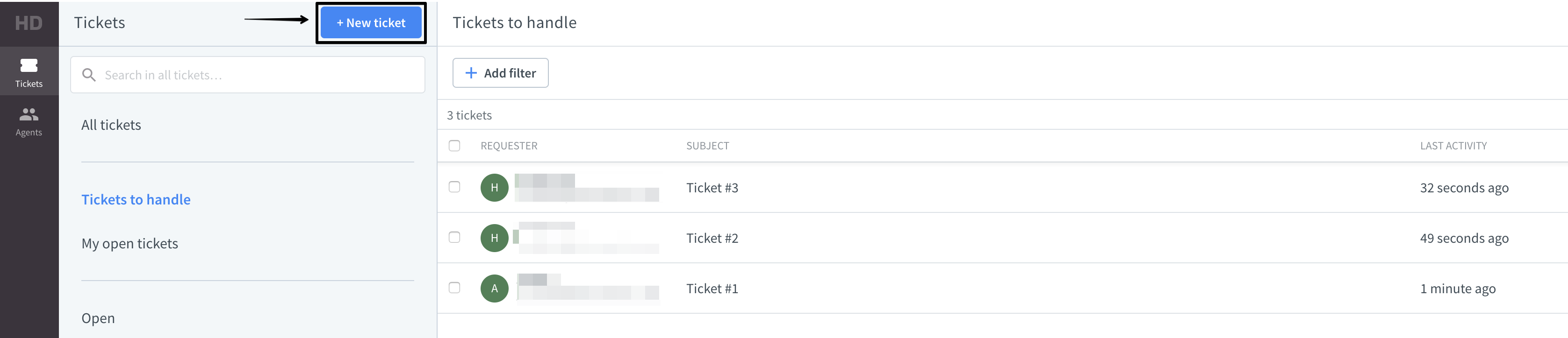 Creating a new ticket in the HelpDesk app