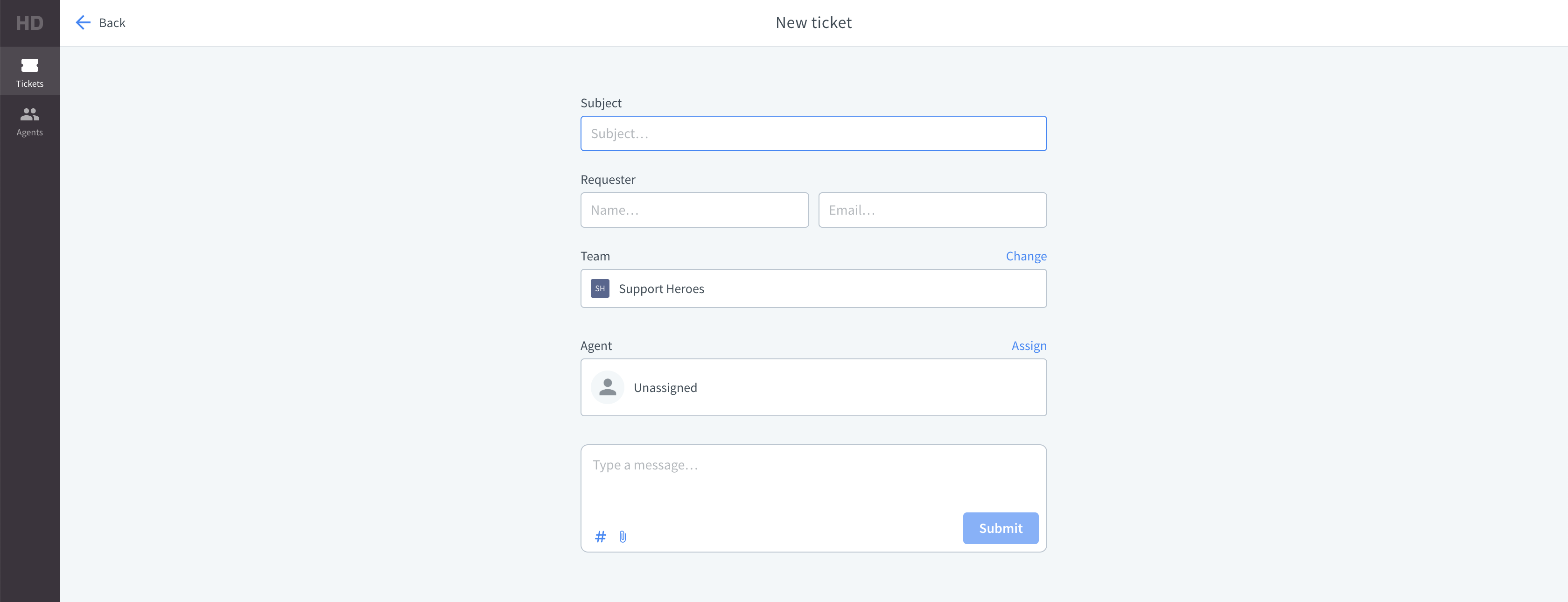 "The ""New ticket"" view in the HelpDesk app"