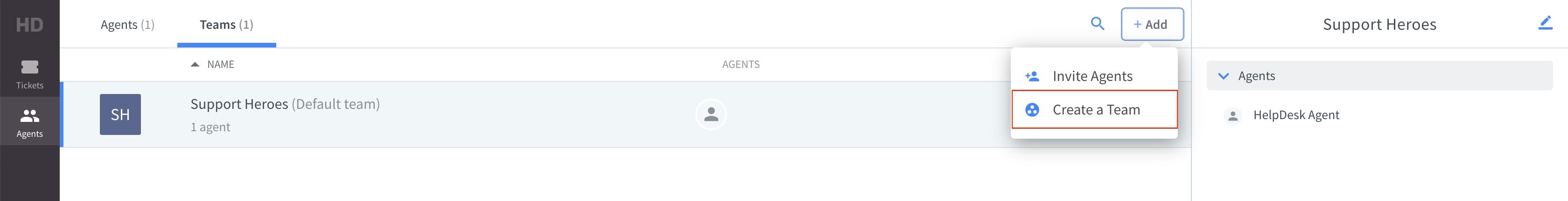 Create a team in HelpDesk