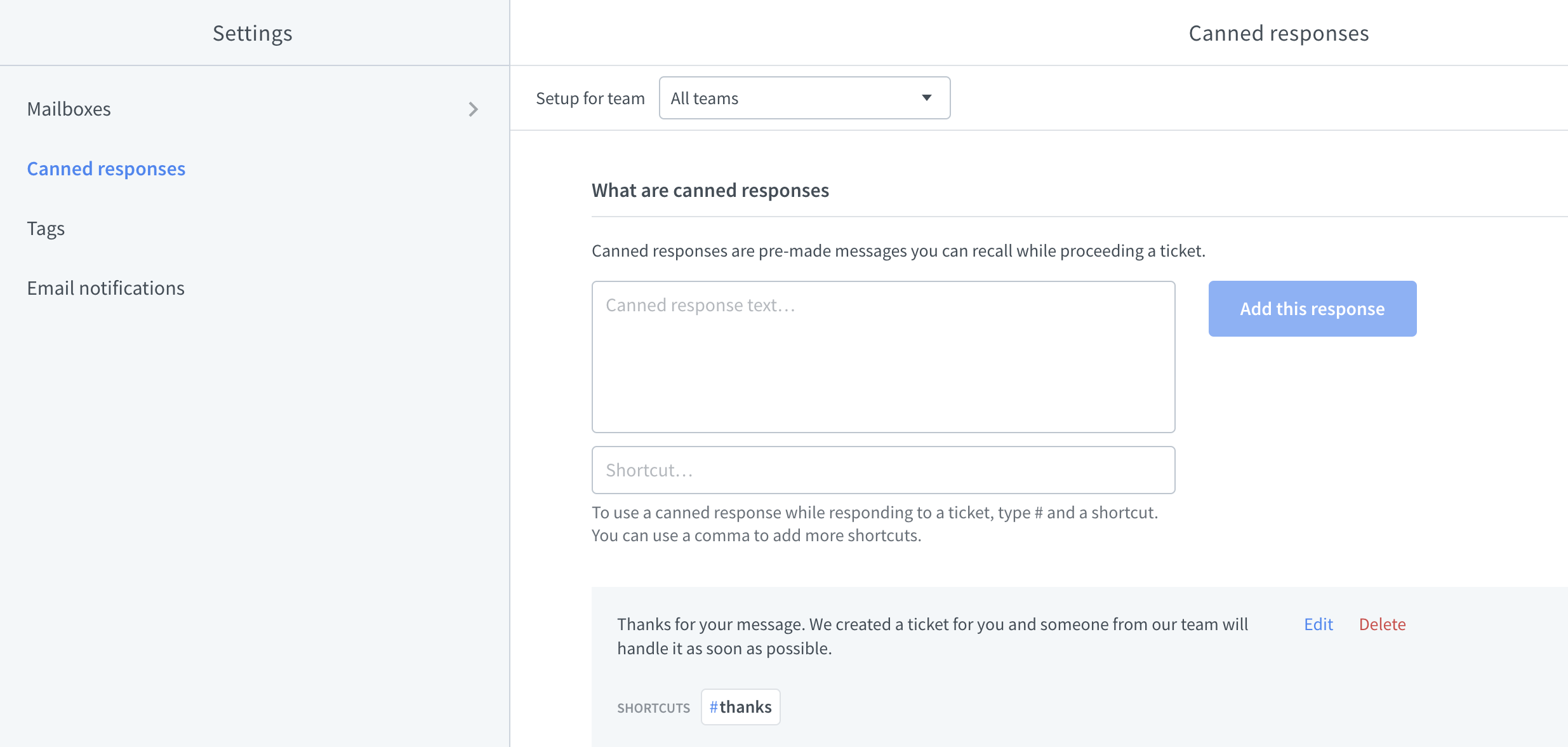 Managing canned responses