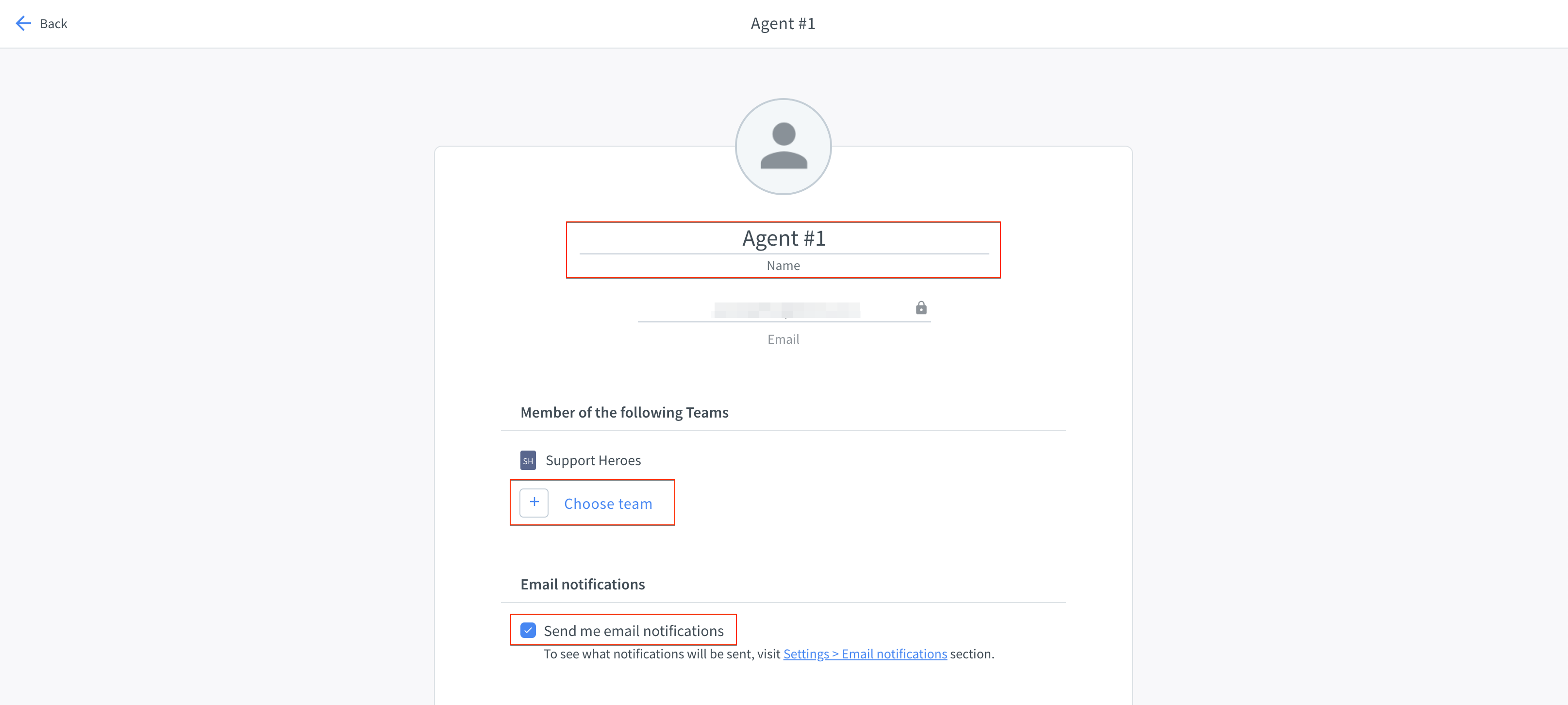 Agent settings in the HelpDesk app