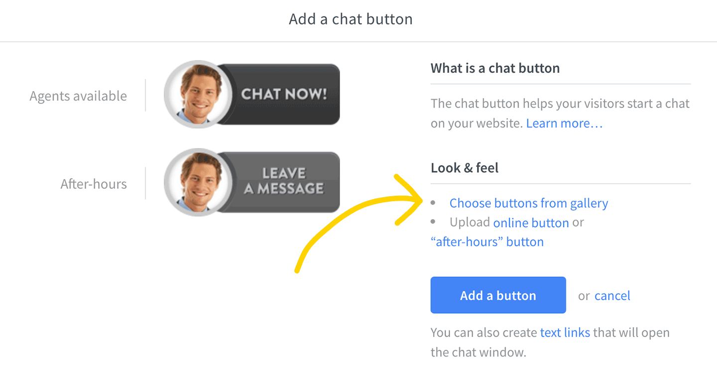 Choose a chat button from LiveChat gallery