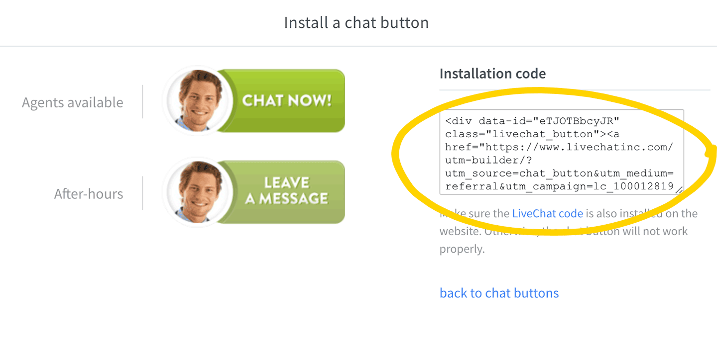 LiveChat chat button installation code