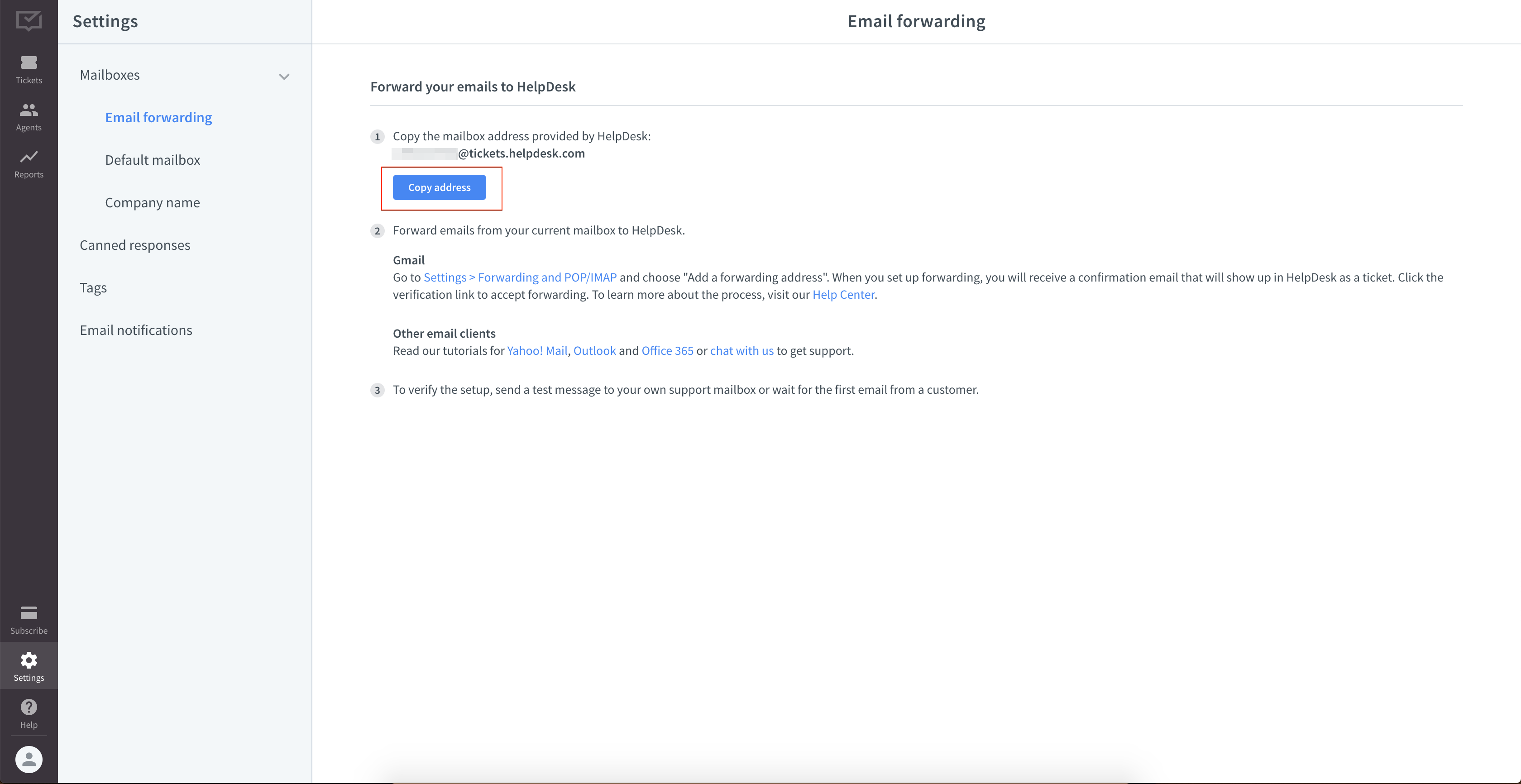 Forwarding settings in HelpDesk