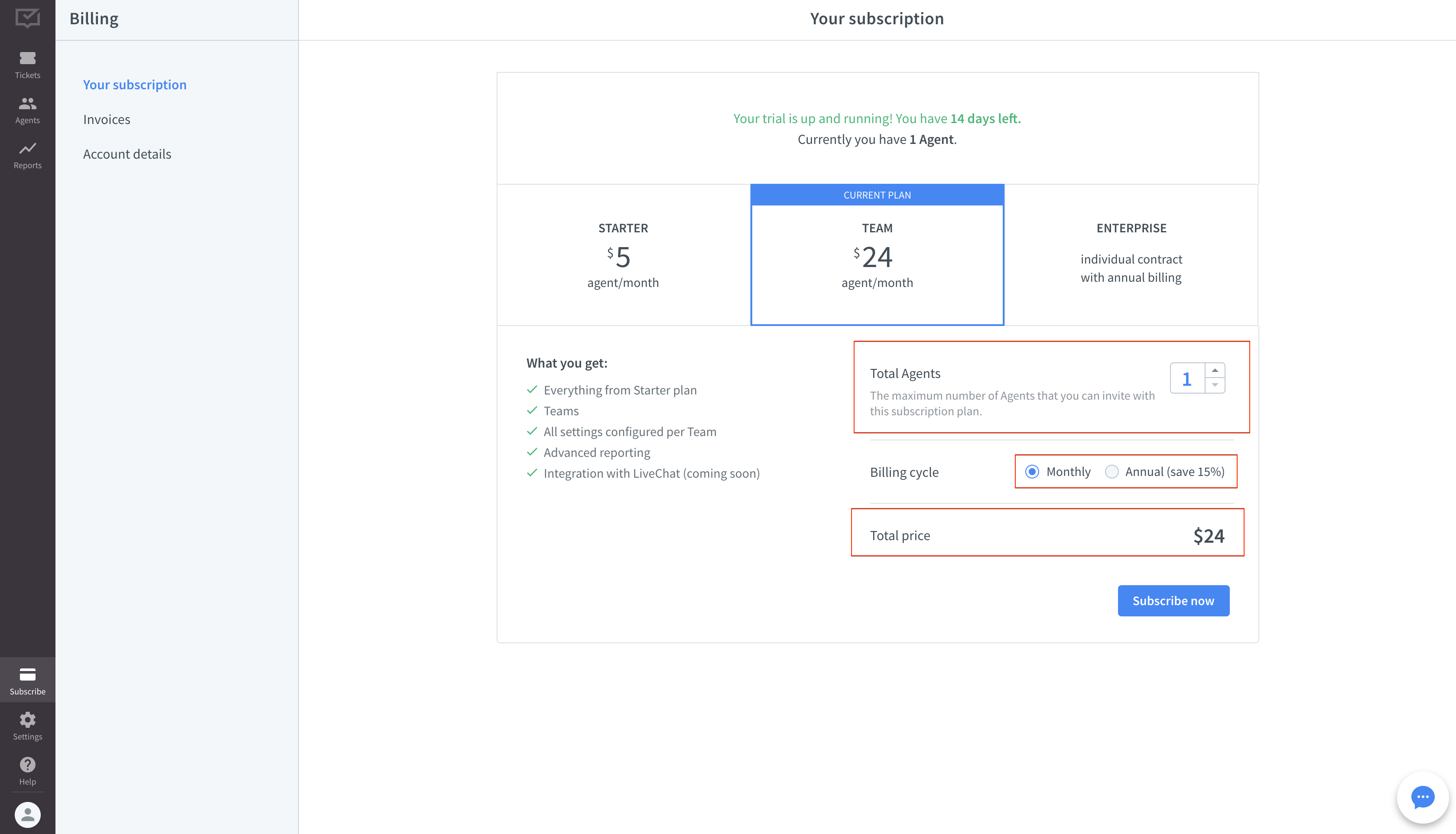 Your subscription details in HelpDesk