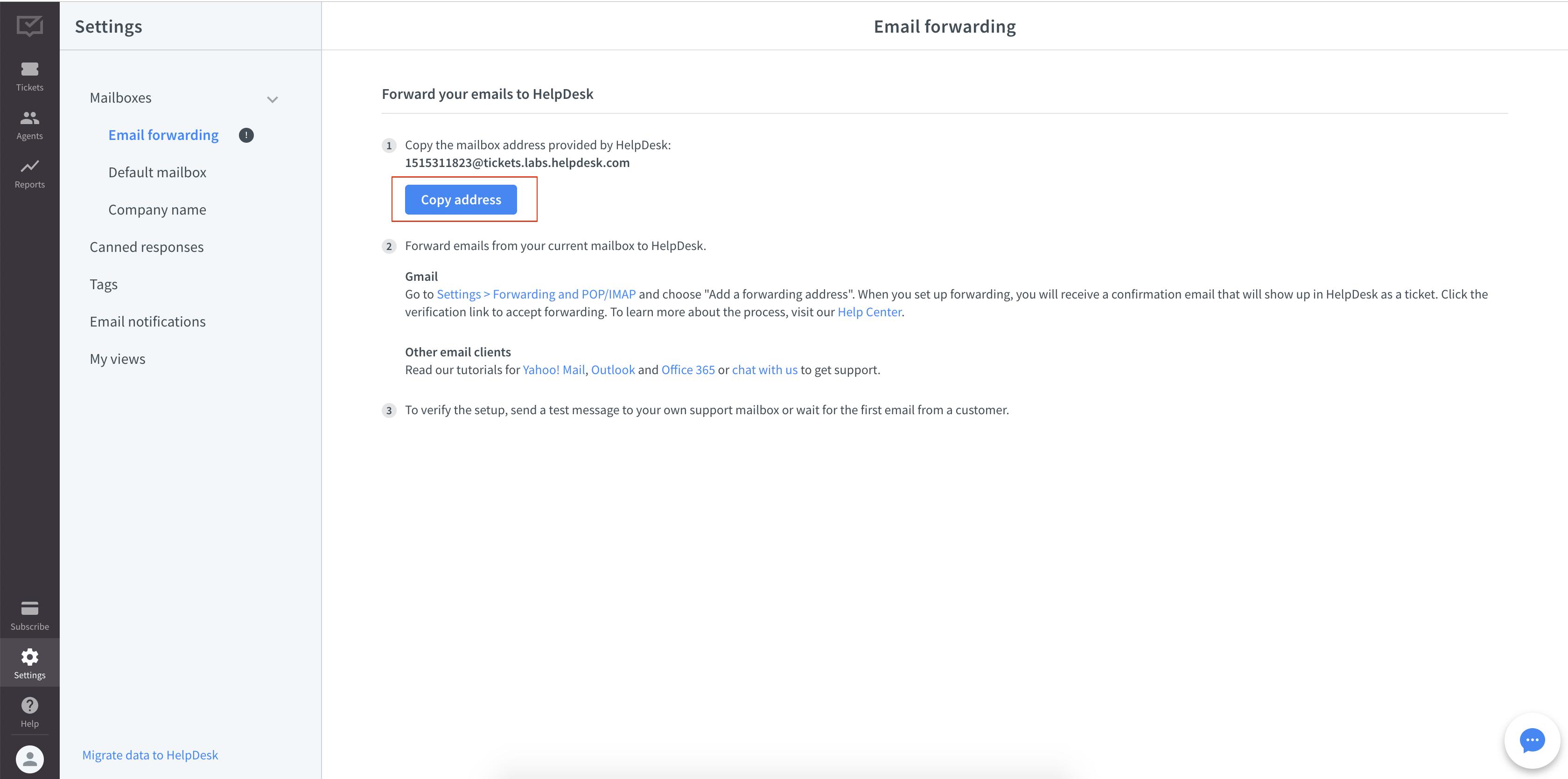 HelpDesk forwarding address