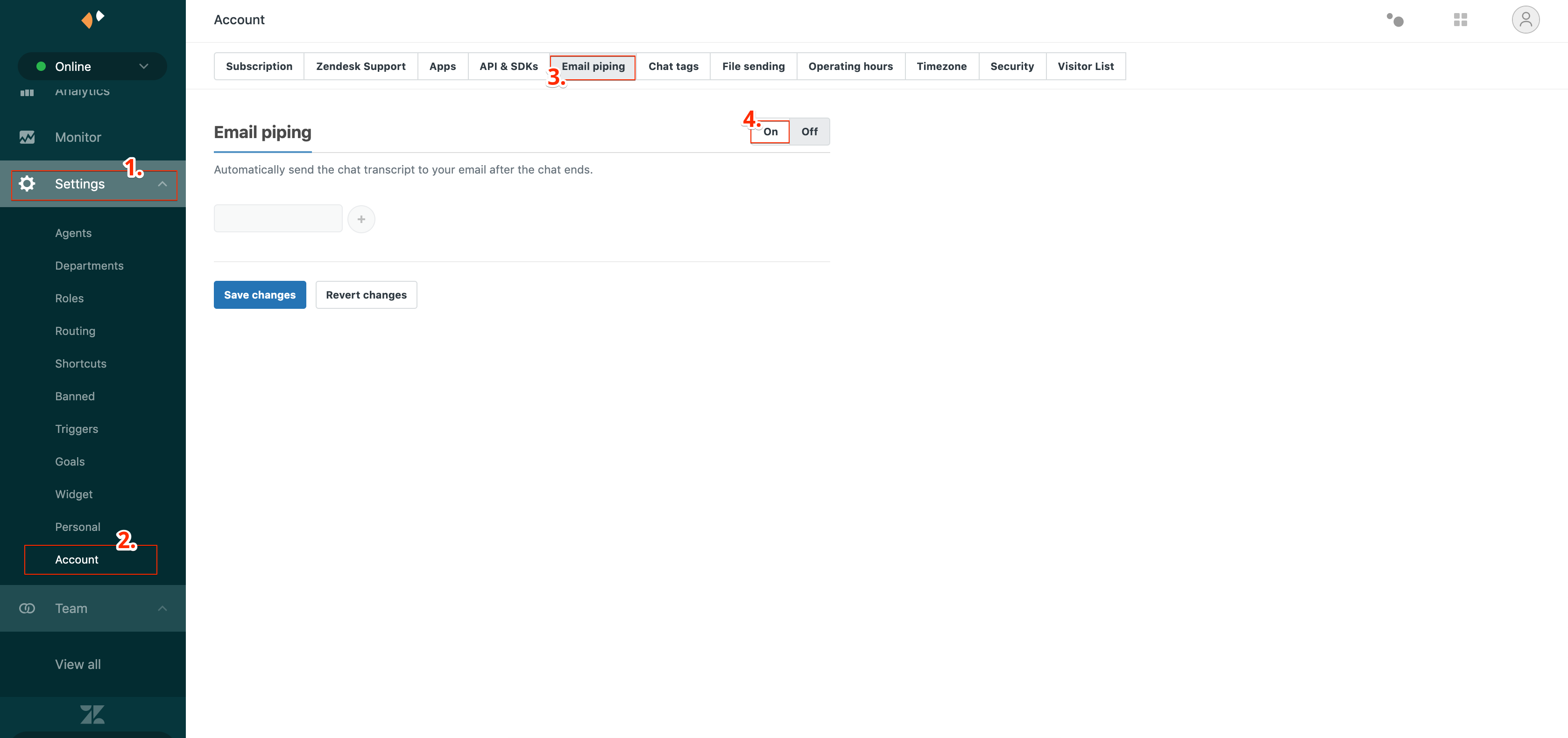 Zendesk settings - email piping