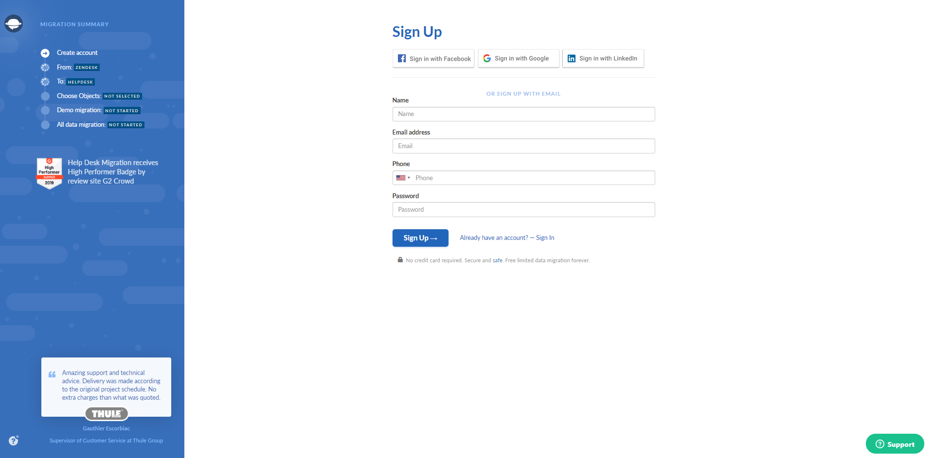 Sign up for Help Desk Migration service