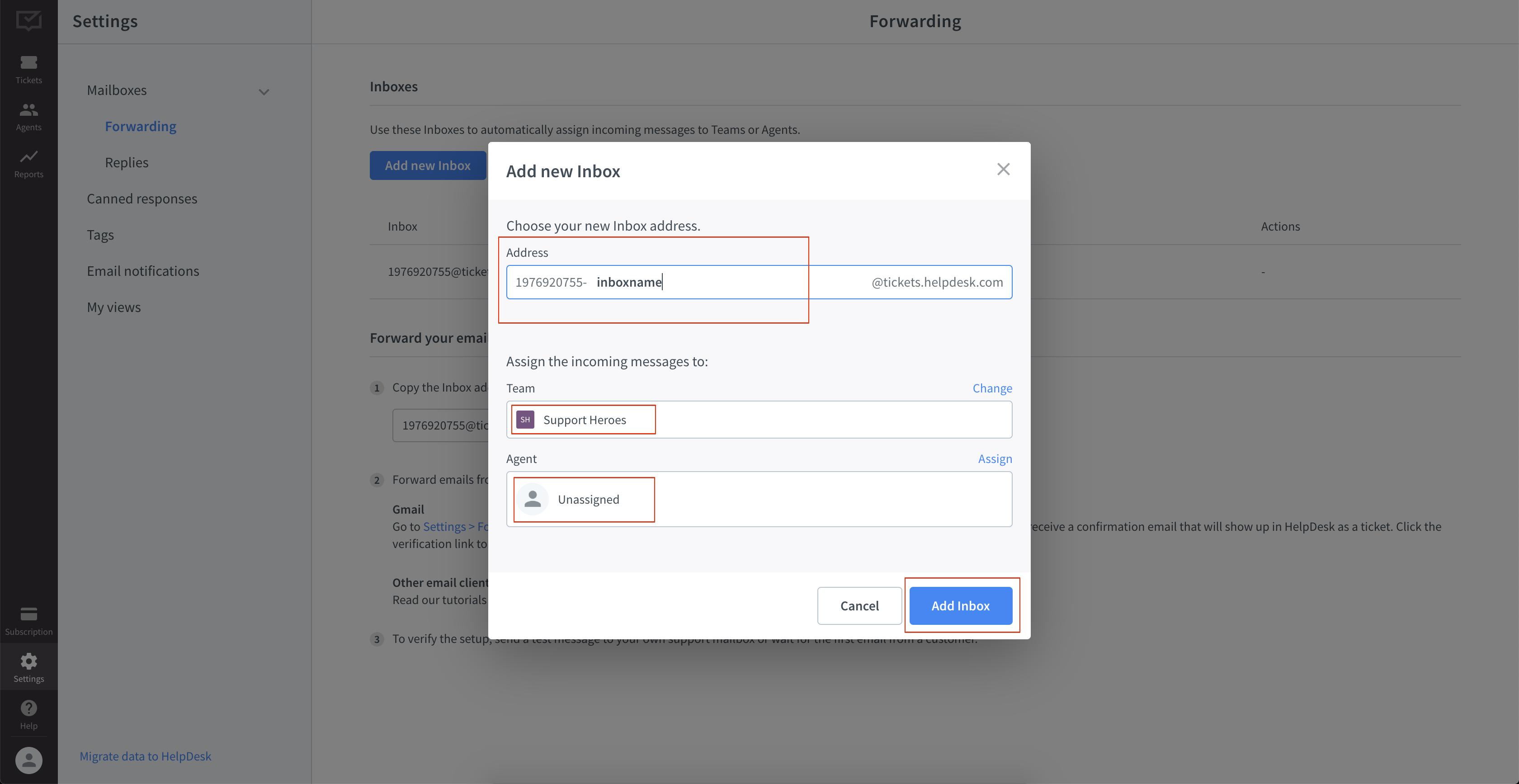 Adding inbox properties in Helpdesk