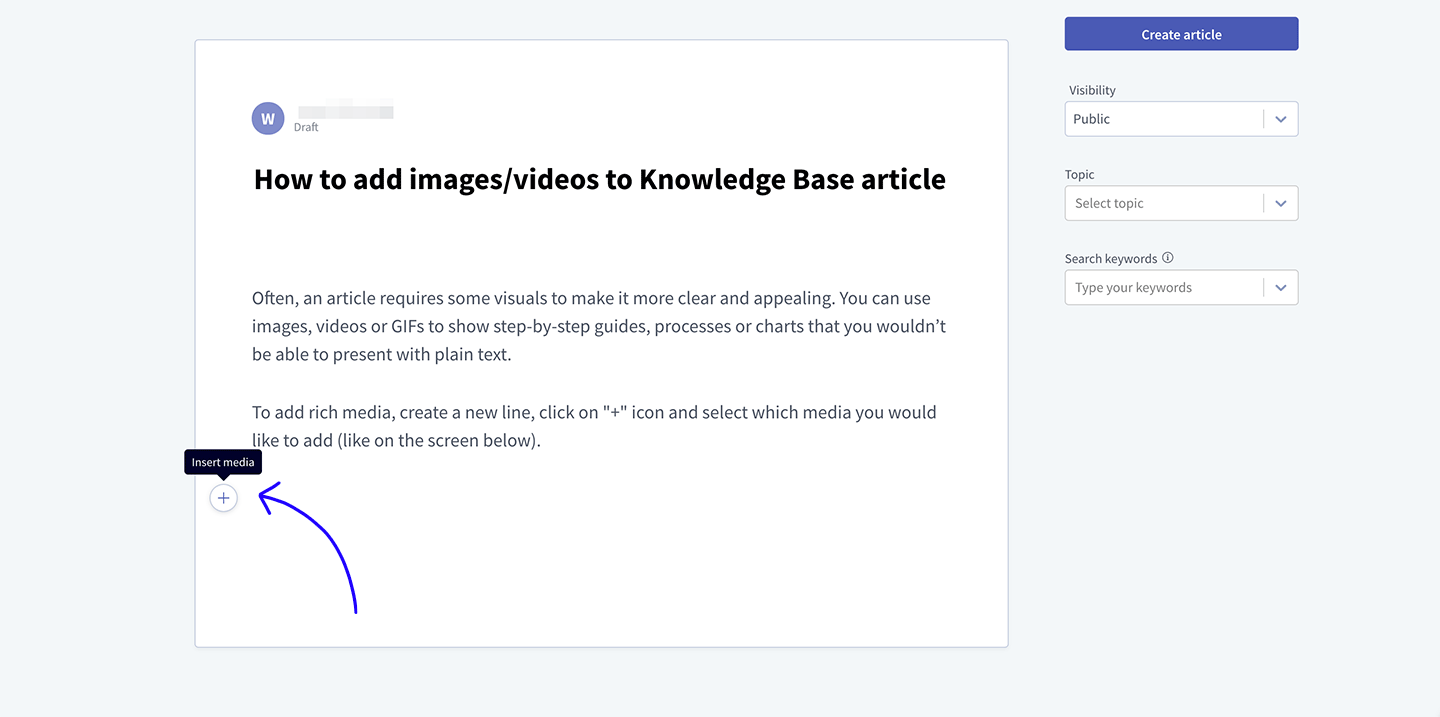 Knowledge Base rich media insert button