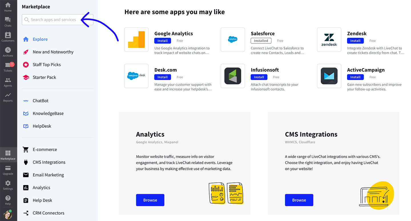 Search for app in Marketplace