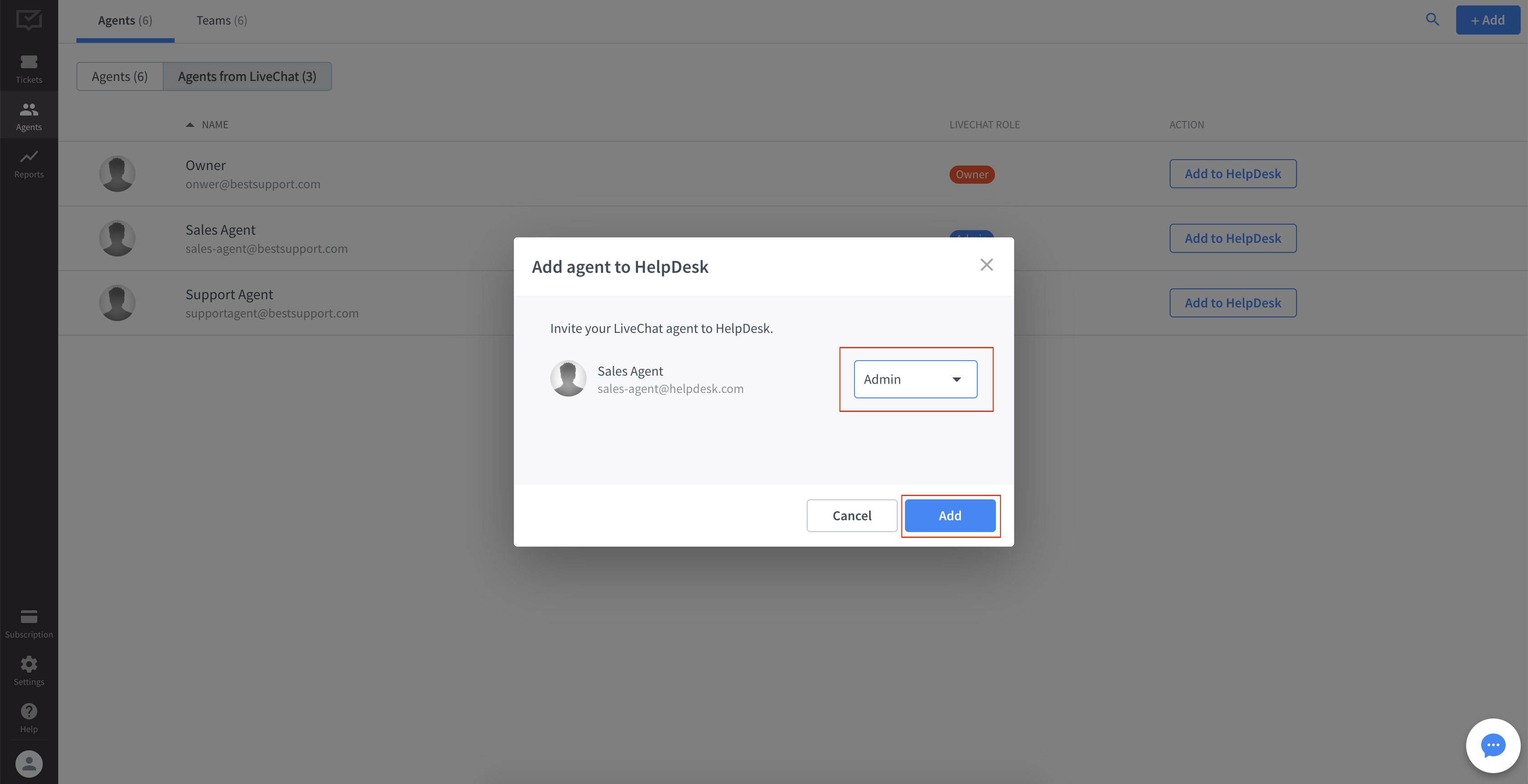 Inviting LiveChat agent to HelpDesk - final step